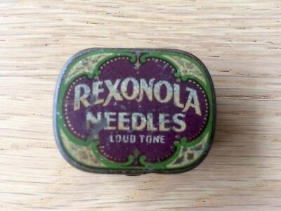 "Vintage Rexonola ""loud Tone"" Gramophone Needle Tin With Contents."