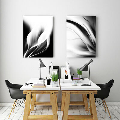 Large Black & White Canvas Print Abstract Art Canvas Print  80x100cm - A Pair