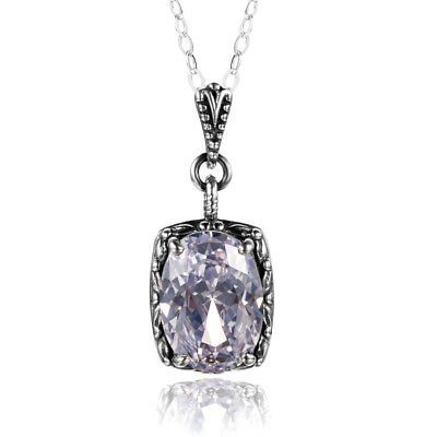 Authentic Sterling Silver Pendant Chain CZ Necklace Link White for Women Links