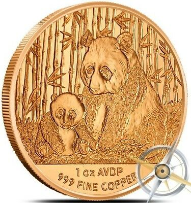 1 oz .999 Solid Copper Art-Round/coin Newly minted: Chinese Panda with Her Baby