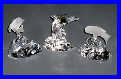 3 Truly Superb Glass Sculptured Dolphins - One With Sticker Marked Bohemia