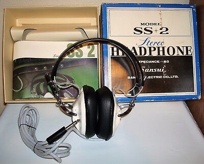 Mint Vintage SANSUI Stereo Headphones Model SS2 -SS+2- With Box -Manual -Japan
