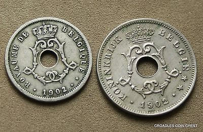 Belguim Belges 1902 5 And 10 Centimes Pair Nice World Coin's   #oeq10