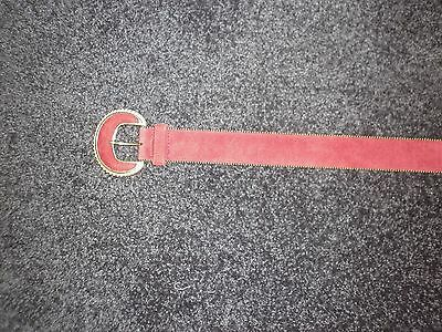 Ladies Vintage Leather Belt in Red Size Small