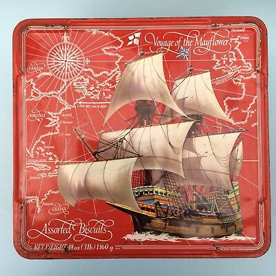 VINTAGE NABISCO FREARS ASSORTED BISCUIT TIN Voyage of the Mayflower England 60s