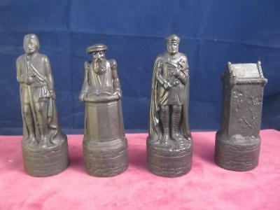 4  Black Wade Beneagles  Whisky Decanter Chess Pieces Thistle & Rose Caledonian