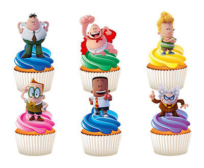 12 Stand Up Captain Underpants Edible Cupcake Cup Cake Decoration Images Toppers