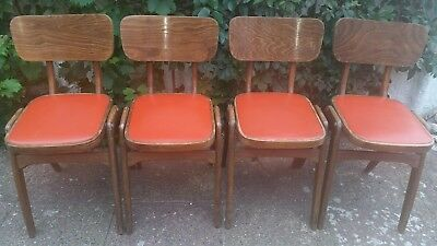 4 x Vintage Mid Century Industrial Wood Stacking Centa School Cafe Dining Chairs
