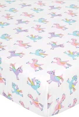 Pink Blue Purple Rainbow Unicorn Toddler Fitted Bed Sheet Girl Kids Room Decor