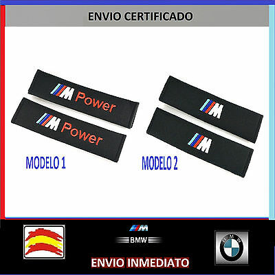 Pack 2 Fundas Almohadillas Cinturon Seguridad Bmw Power M Logo Bordado E. Gratis