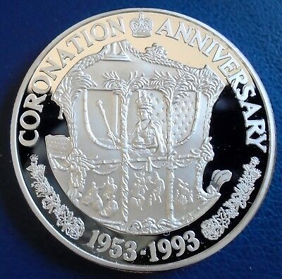 "TURKS & CAICOS: 1993 20 Crowns, ""E"", 1 tr oz silver proof, cap, cert - top grade"