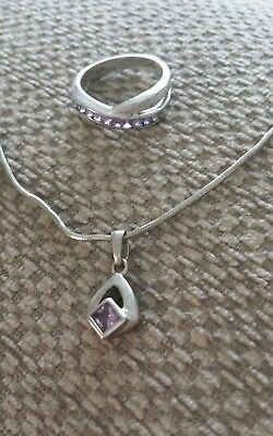 925 Sterling Silver & Purple Stone Ring and Necklace 12 Grams Scrap or Cleaning