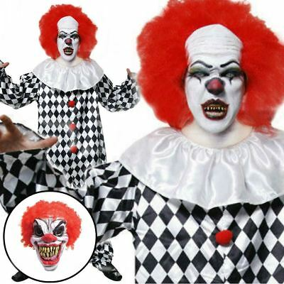 INCLUDES MASK Scary Clown Fancy Dress Costume Horror Killer Circus Halloween