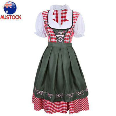 Traditional Authentic German Red Dirndl Dress Oktoberfest Womens Costume