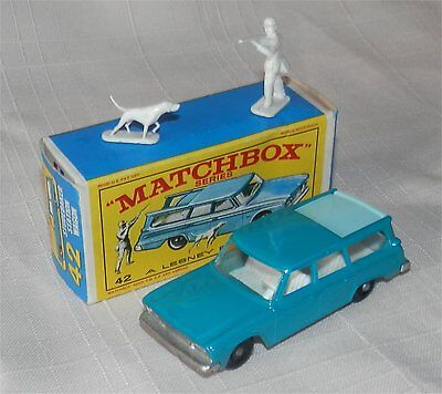 1960s matchbox lesney.42,Studebaker Station Wagon.Hunter/dog.BPW.MINT IN BOX
