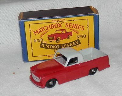 1960s.Matchbox.Lesney.50.Black PLASTIC wheels.COMMER.2-TONE.Pick-up.MINT IN BOX