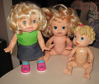 Baby alive doll lot of 3 vinyl plastic, walking, eating talking, english french