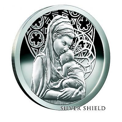 2015 1oz Peace Silver Shield .999 Proof Baby Jesus Mary COA #404 of 717 Minted