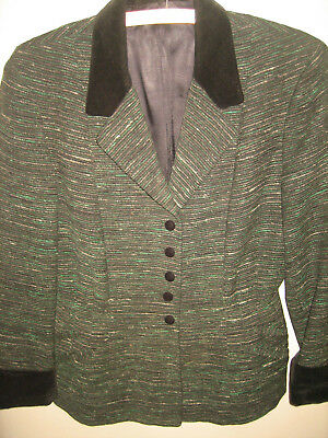 vtg LILLI ANN ? 40s 50s No label FLECKED GREEN Velvet Trim Suit Jacket Blazer M