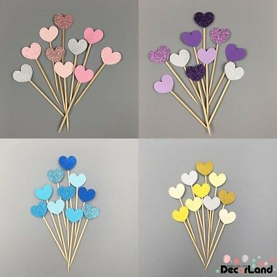 10Pcs Multi-colors Love Heart Cupcake Toppers Food Picks Wedding Party Decor