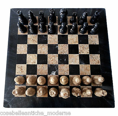 Chessboard Marble Black Fossil Stone Inlays Chess 30x30cm