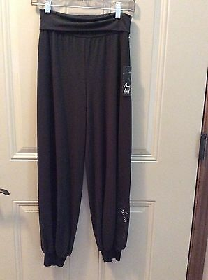 NWT Womens Bloch Dance black wide leg cuffed Pants size S/P