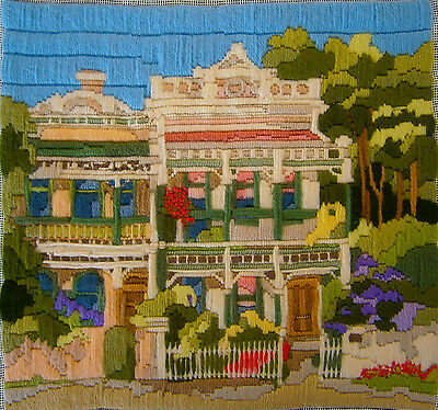 """SEMCO Long Stitch """"Terrace Houses"""" Hand Stitched Embroidery Craft Tapestry"""