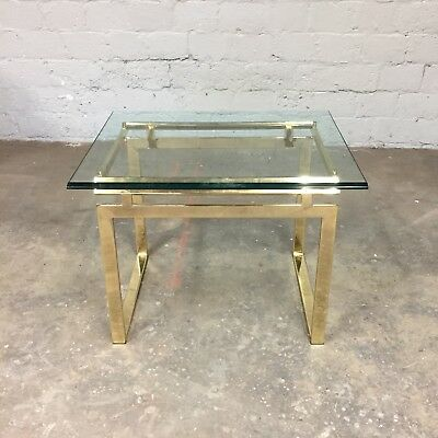 Vintage Mid Century Modern Brass Glass Side End Table Milo Baughman MCM Retro