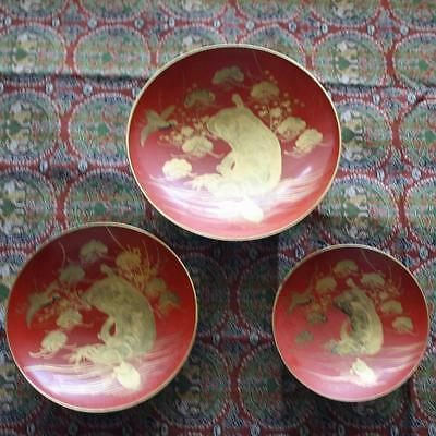 Japanese Lacquer Nesting Bowl, Three of Them, with Manatee
