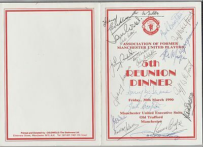 Signed Manchester United 5th Reunion Dinner Menu 30th March 1990