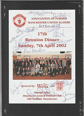 Signed Manchester United 17th Reunion Dinner Menu 7th April 2002