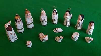 Handmade 14 piece Mexican Nativity Set White/Gold