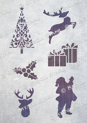 Christmas Mix STENCILS XM A5 Santa Reindeer Crafts Card Wood, SUPERIOR 250 MYLAR