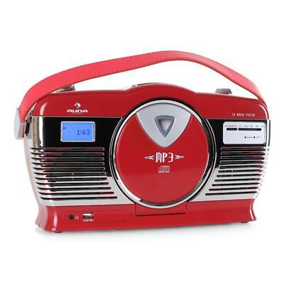 Auna Rcd-70 Red Portable Cd Player Usb Retro Vintage Radio Stereo Speaker System