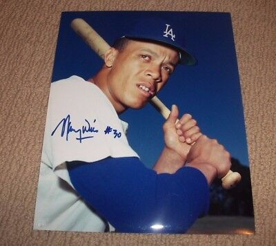MAURY WILLS - Signed Los Angeles Dodgers 8x10 Photo Autographed In-Person