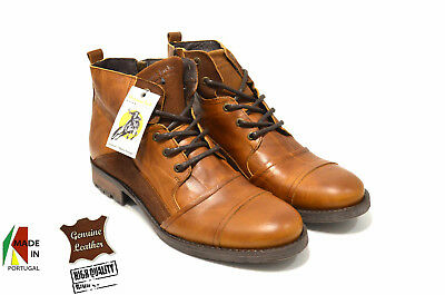 Jeep Brown Boots in 100/% Genuine Leather Made in Portugal