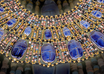 Beautiful Egyptian Hand Made 22 Scarabs Mummy bead Cleopatra Collar Necklace