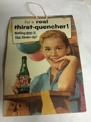 Vintage 7up Soda Cardboard Fan Pull  Sign 1956 Girl Prepares For A Party Scene