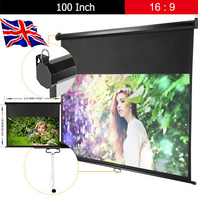 """100"""" Manual Pull Down Portable Projector Screen 16:9 Matte HD Home Theater DTV"""