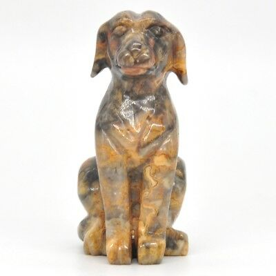 Borzoi Dog Figurine Lace Agate Crystal Hand Painted Miniatur Statue Collectible