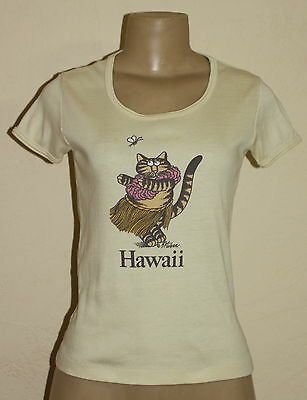 Vtg B Kliban Kilban Kitty Cat Lover Hawaii Hula Girl Yellow T Shirt Womens Xs