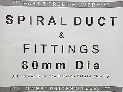 Spiral ducting & fittings 80mm dia, ventilation, extractor fan, hydroponics