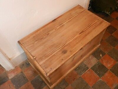 Victorian Antique Pine Blanket Box / Coffee Table / Wooden Trunk