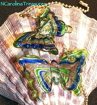 Butterfly Green Blue Gold Copper Glass Ceiling Fan Light Switch Pull Large Pair