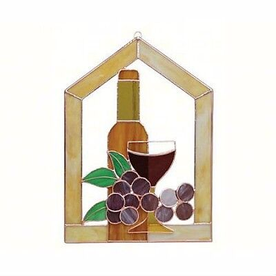 Small Wine Bottle Glass Grapes Scene Steeple Stained Glass Window Panel