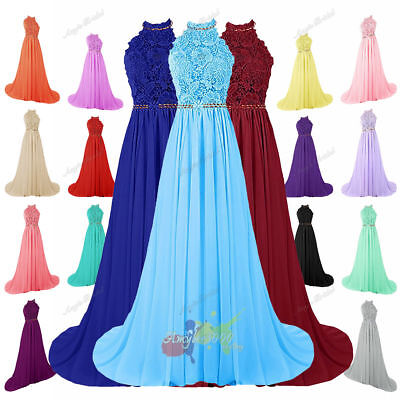 Long Chiffon Halter Lace Evening Formal Ball Gown Party Prom Bridesmaid Dress