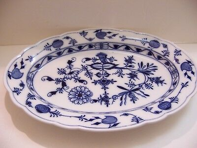 "Meissen Blue Onion 17 3/8"" Oval Platter Excellent Condition Oval Back Stamp"