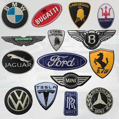 Embroidered Patch Super Cars Brand Logos Badge Iron On/Sew On Easy Use Uk Seller
