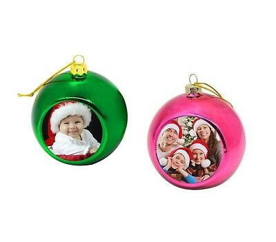 Custom Printed Personalised Picture Photo Round Christmas Bauble Tree Decoration