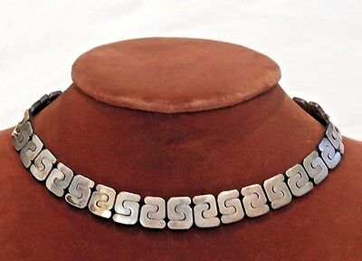 Modernist Taxco Mexico Sterling Silver Necklace and Matching Bracelet Set